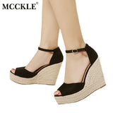 MCCKLE Fashion Superior Quality Comfortable Bohemian Wedges Women Sandals For Ladies Shoes High Platform Open Toe Plus Size