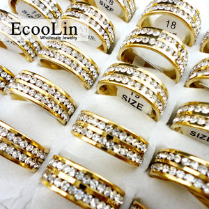 10Pcs Bulk Classic Gold Engagement Wedding Rings for Women Vintage Jewelry Lots Packs