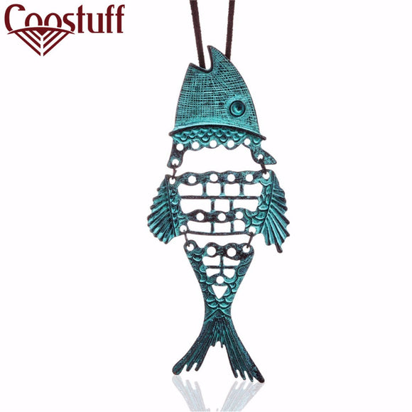 2017 Vintage Choker Necklaces Women statement necklaces & pendants Green Fish Woman necklace collares colar collier jewelry