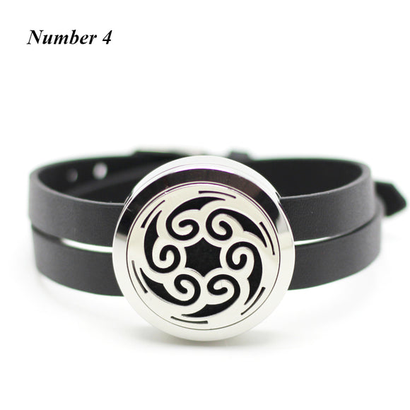 30mm silver aromatherapy locket bracelet Stainless Steel Perfume Locket with PU Leather Essential Oil Diffuser Locket Bracelet