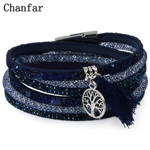 12Styles Multilayer Leather Tassel Bracelet Bohemian Feather Anchor Charms Magnetic Velvet Bracelet Boho Women Men Jewelry