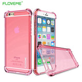 FLOVEME For iPhone X 2017 New Luxury Case , Transparent Clear Cover For iPhone 8 iPhone 6 6S Plus 7 Plus Case Anti-knock
