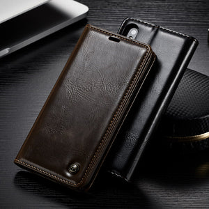 Luxury Leather Case For iPhone X 8 Plus 7 6 6S Plus Case Magnetic Card Slot Wallet Cover Flip Phone Case For iPhone 5 5S SE