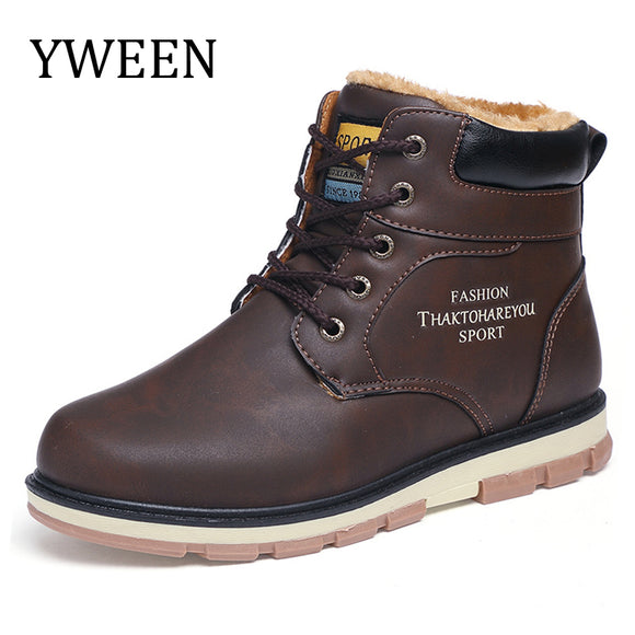 YWEEN Newest Men's Snow Boots Men Plush Warm Winter Shoes Man Big Size Boots