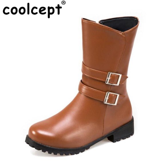 Coolcept Size 34-43 Women Mid Calf Snow Boots Women Fashion Buckle Strap Side Zip Shoes Women Warm Plush Winter Botas Footwear