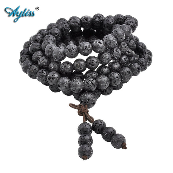 Ayliss 6mm 8mm Natural Lava Rock Stone Healing Gem Stone 108 Buddhist Prayer Beads Tibetan