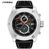SINOBI Brand Sport Men watch Leather watchband Waterproof Chronograph Quartzwatch Clock Military WristWatch Male Saat RU ship