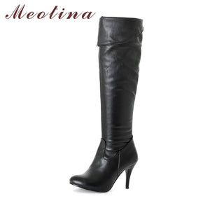 Meotina Women Boots High Heels Thigh High Boots Winter Sexy Over Knee Boots Ladies Autumn Shoes Black White Shoes Big size 10 43