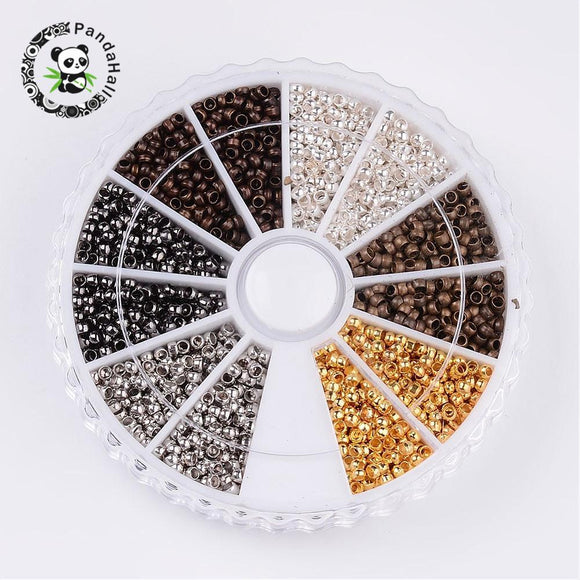 3000pcs Crimp End Beads Jewelry Findings For Necklace Earring Bracelets DIY Making 2mm Mixed Color Hole: 1.2mm; 500pcs/color