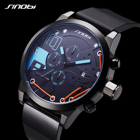 Top Brand SINOBI Men Sport Chronograph Relogio Masculino Silicone Watch Waterproof Luxury Men's Watches Fashion Casual Quartz