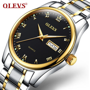 2017 OLEVS Outdoor Sports Watches Hiking Men Watch Luminous Water Resistant Stainless Steel Watch Black Auto Date Men Clock Sale