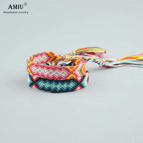 AMIU Handmade Bracelet Custom Tibetan Cotton Wrap Popular Woven Rope String Friendship Bracelets For Women Men