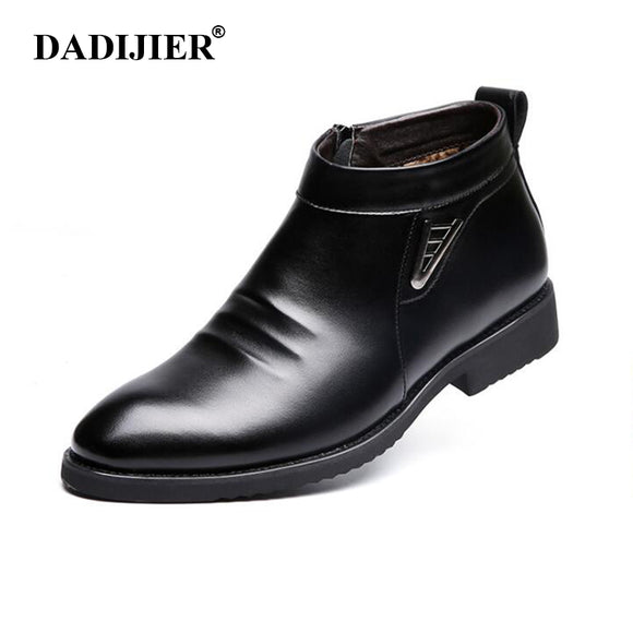 DADIJIER 2017 Autumn Winter vlevet Retro Men Boots Comfortable Zipper Brand Casual Shoes Split Leather Snow Boots shoes ST91