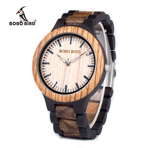 BOBO BIRD WN28 Mens Wood Watch Zabra Wooden Quartz Watches for Men Japan miyota 2035 Watch in Gift Box with tool for adjust size