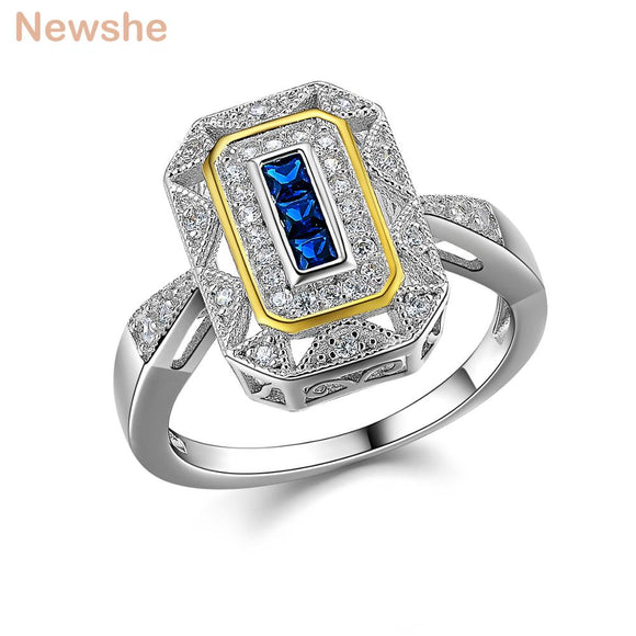 Newshe White & Gold Color Plated Solid 925 Sterling Silver Wedding Ring Blue Zirconia Classic Jewelry For Women