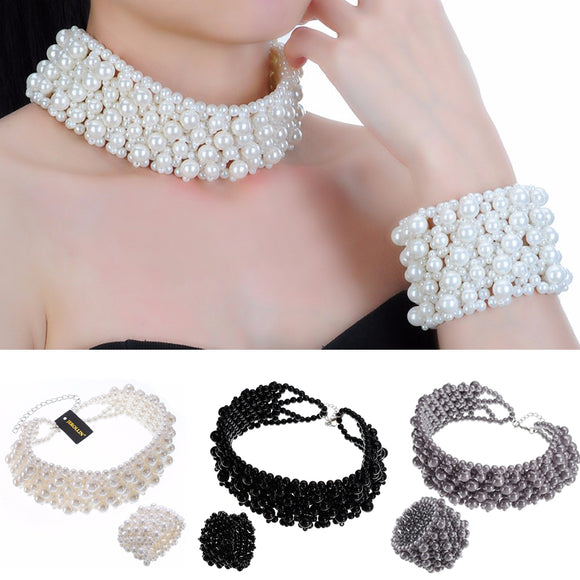JEROLLIN Fashion Jewelry Chain 3 Colors Pearl Chunky Barcelet Choker Statement Bib Bracelet Necklace Set