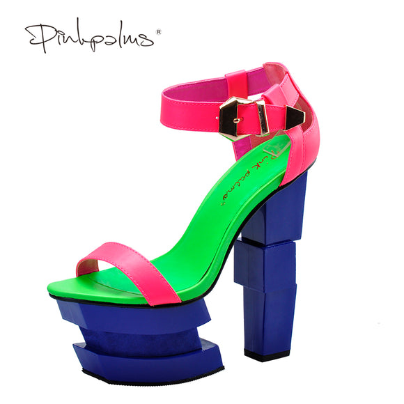 Pink Palms summer sandals sexy women high heels sandals sweetly blush fashion buckle thick women platform sandals