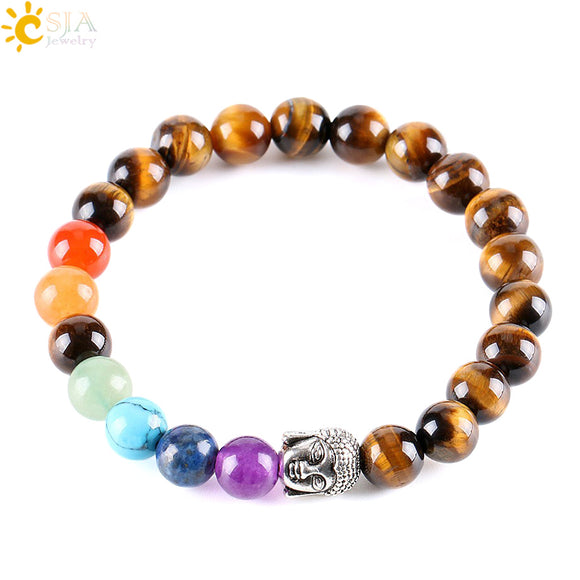 CSJA 8mm Natural Round Stone Tiger Eye Beads Buddha Bracelets 7 Chakra Healing Mala Meditation Prayer Yoga Women Jewellery E329