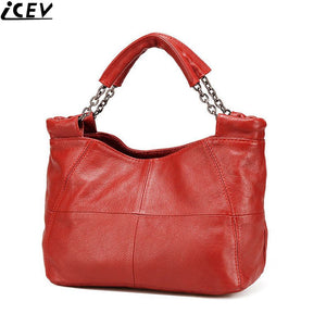 ICEV 2017 New Simple Casual Female Genuine Leather Bags Handbags Women Famous Brands Designer Women Messenger Bag Ruched Bolsos