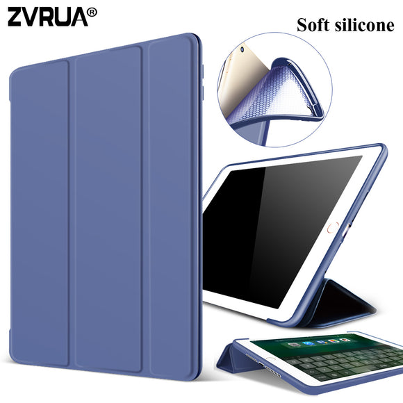 Case for New iPad 9.7 inch 2017, ZVRUA Soft silicone bottom+PU Leather Smart Cover Auto Sleep For New iPad 9.7