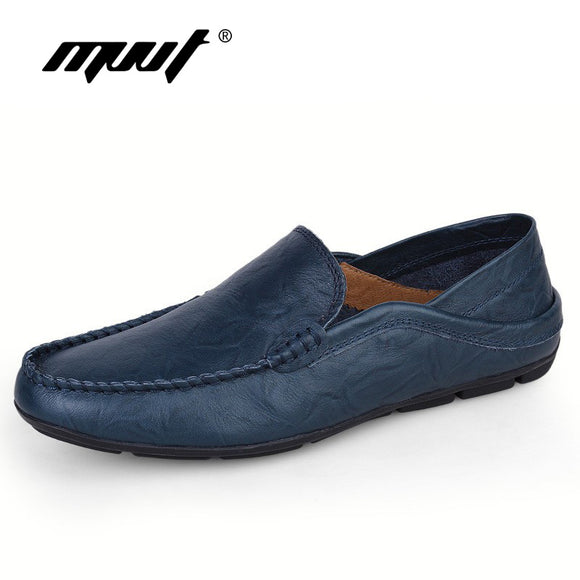 Plus size genuine leather men casual shoes slip on spring and autumn soft loafers shoes men moccasins shoes men's flats shoes