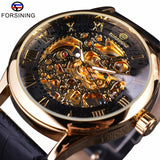 Forsining Retro Classic Design Roman Number Display Transparent Case Mechanical Skeleton Watch Men Watch Top Brand Luxury Clcok