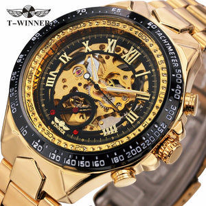 WINNER golden watches men sports military skeleton wristwatches automatic wind mechanical watches steel strap relogio masculino