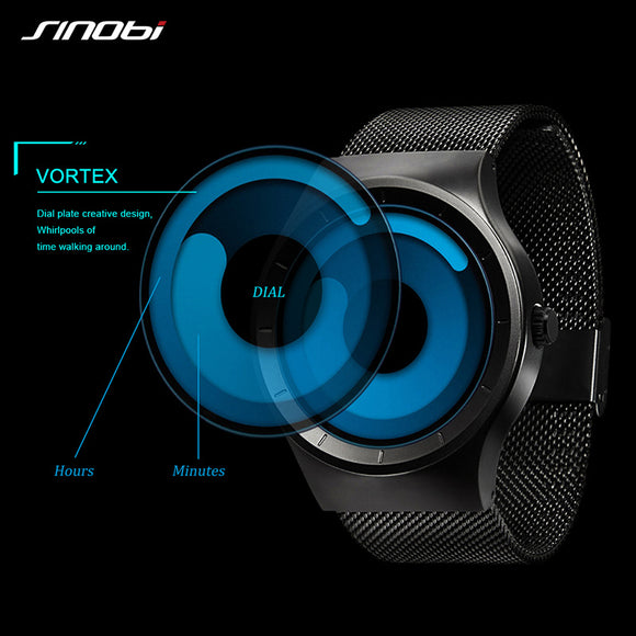 2017 SINOBI Brand New Men Watches Stainless Steel Mesh Strap Sport Watches Fashion Quartzwatch Wristwatches Relogio Masculino