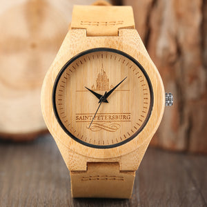 2017 Luxury Wood Watches Unisex Famous Russian Saint Petersburg Sport Nature Women Men Wrists Watch Light Bamboo Reloj Hombre
