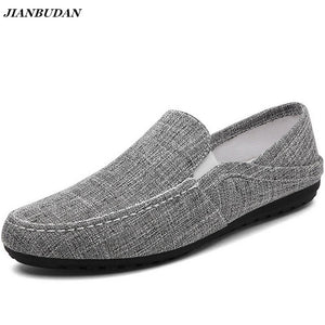 JIANBUDAN Linen breathable male flat shoes 2017 summer new casual driving shoes lightweight wear-resistant slippery lazy shoes