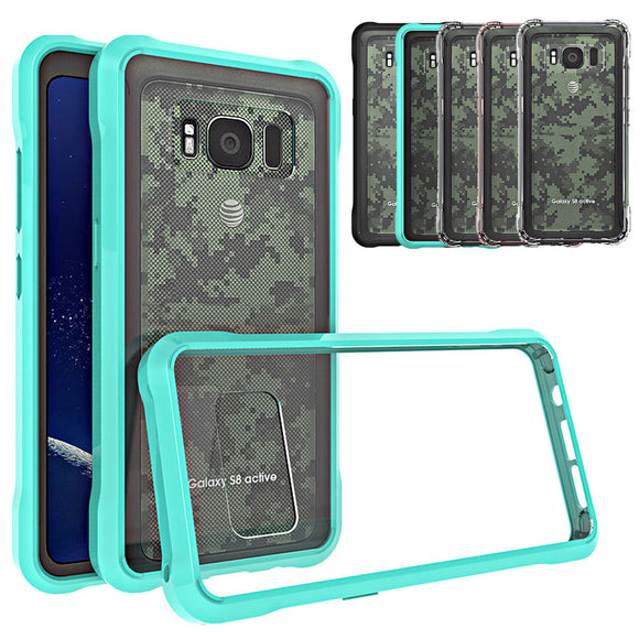 Ultra Thin Transparent Crystal Clear Case With TPU Frame Hard Acrylic Back Case Shockproof Cover For Samsung Galaxy S8 Active