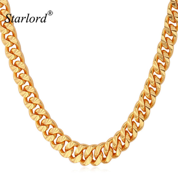 Starlord Chain For Men Necklace Vintage Gold Color 6MM 55CM 22'' Fashion Mens Necklace Cuban Link Chain Jewelry N838