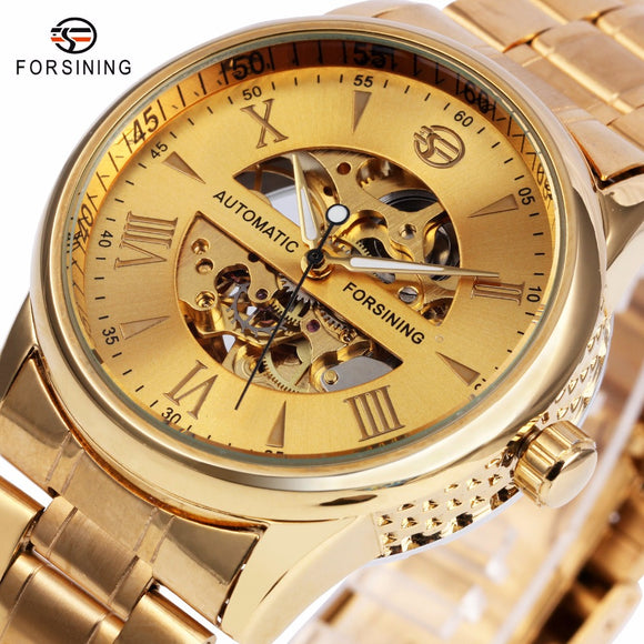 WINNER Luxury Men Women Watches Automatic Mechanical Lover's Wristwatch Stainless Steel Band Luminous Hands Skeleton Clock 2017