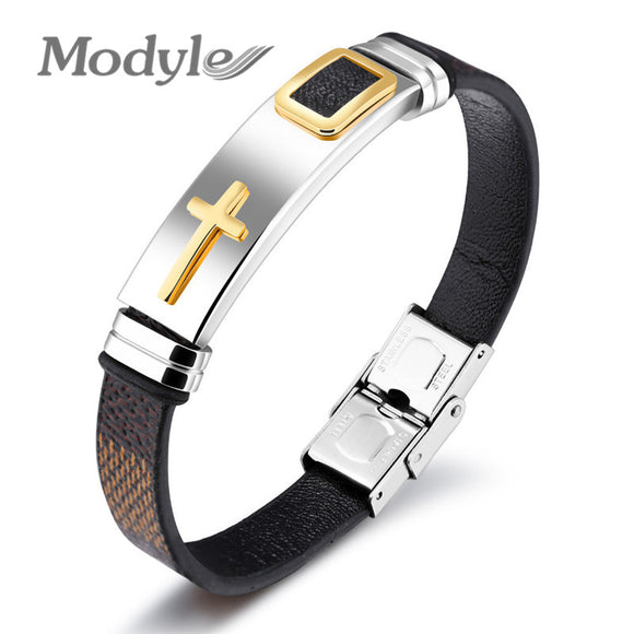 Modyle 2017 New Fashion Brown&Black PU Leather Bracelets Bangles for Men and Women Retro Cross Charm Bracelets
