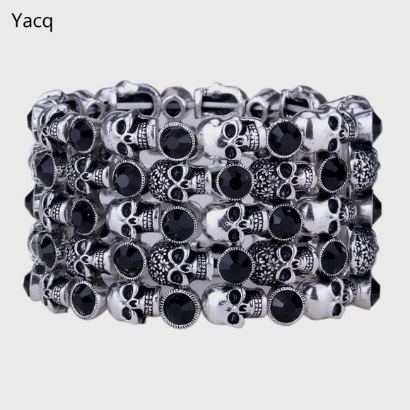 YACQ Skull Skeleton Stretch Cuff Bracelet for Women Biker Bling Crystal Jewelry Antique Silver Color ping D07
