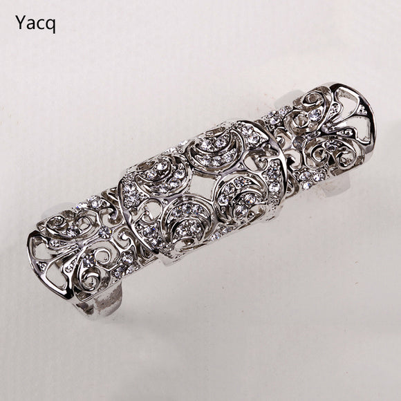 YACQ Double Full Finger Knuckle Long Armor Ring for Women Antique Gold Silver Plated Punk Rock Party Jewelry ping RM05