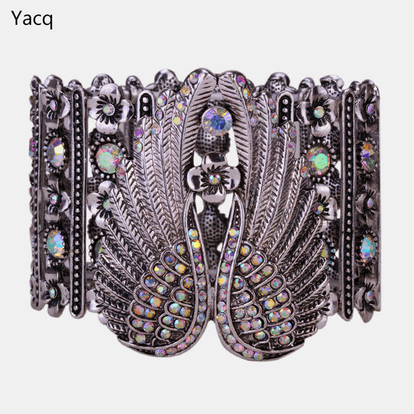 YACQ Angel Wings Stretch Cuff Bracelet for Women Biker Crystal Punk Jewelry Gift Antique Silver Color ping D05