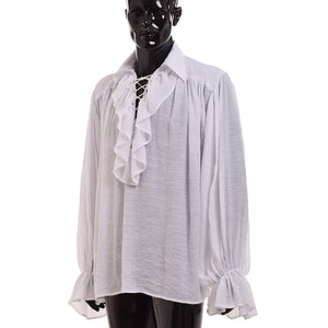 Vintage Men White Ruffled Pirate Shirt Medieval Renaissance Poet Vampire Colonial Jabot Blouse Long Sleeve Clothing