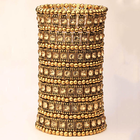 Multilayer stretch cuff bracelet women crystal wedding bridal fashion jewelry gold silver color wholesale ing B15 7 ROW
