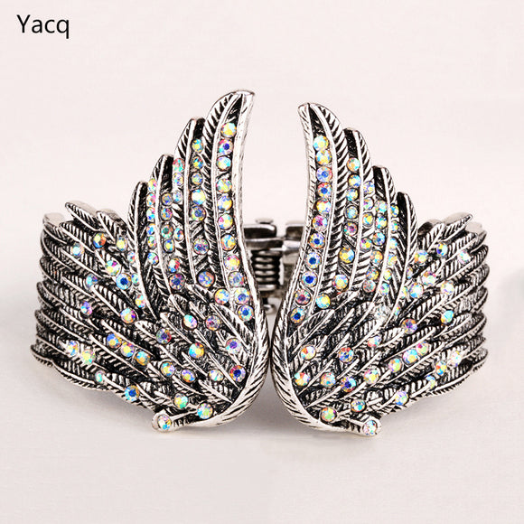 YACQ Angel Wings Feather Bracelet Women Biker Jewelry Antique Gold Silver Color Gifts Her W Crystal ping D01