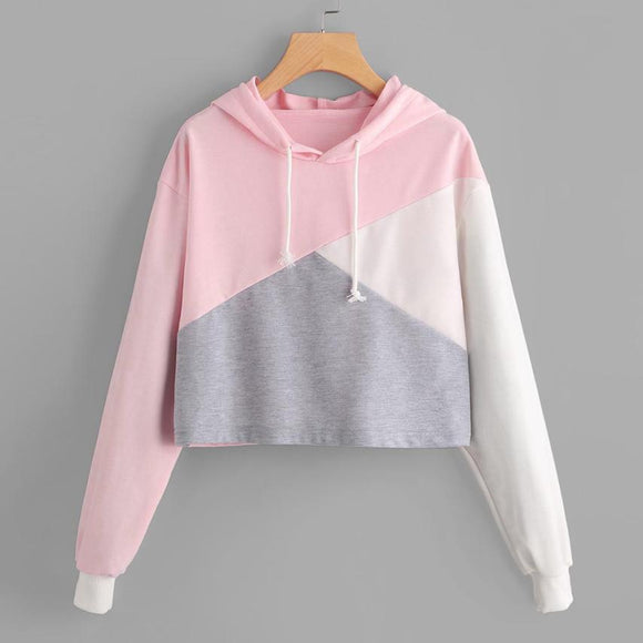 2017 Women Hooded Sweatshirts Cotton Pink Color Block O Neck Long Sleeve Tops Tumblr Womens Clothing Moleton Blusa Feminina