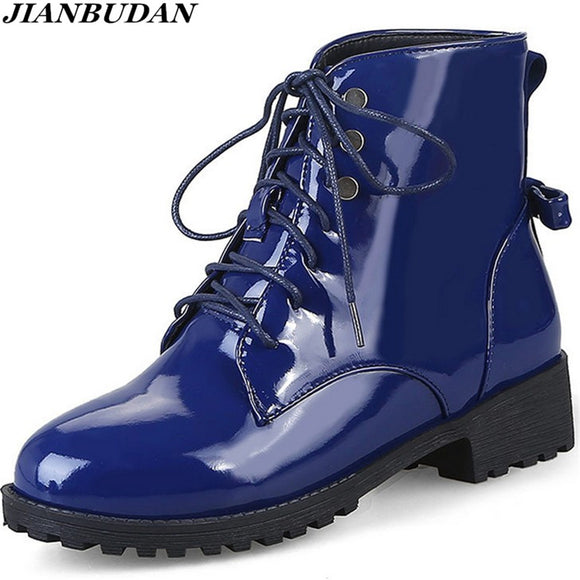 JIANBUDAN Patent leather large size Martin boots women fall boots waterproof non-slip winter warm boots snow boots size 35-46