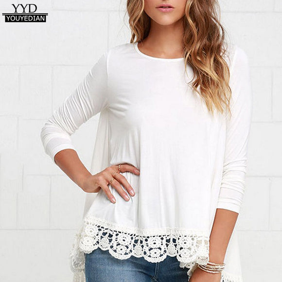 Women's Lace Long Sleeve White T-shirt Autumn 2017 O Neck Casual Loose Cotton Tee Tops Ladies T-Shirt Women T-Shirt Female #801
