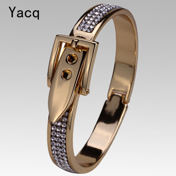 YACQ Belt Bracelet Bangle Silver Gold Color W Crystal Jewelry Gift for Women FT05 ping