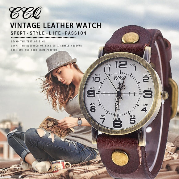 Hot Selling CCQ Vintage Cow Leather Bracelet Watch Women Wrist Watches Casual Luxury Quartz Watch Relogio Feminino