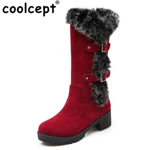 Coolcept 4 Colors Size 34-43 Women High Heel Boots Thick Fur Metal Mid Calf Boots Women Winter Shoes Warm Botas Women Footwears