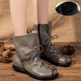 Autumn Genuine Leather Ankle Boots Ladies Casual Warm Comfortable Flat Winter Boot For Women Footwear Female Women Shoes ADT1041