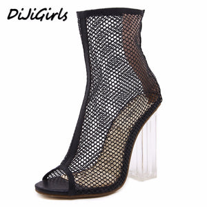 DiJiGirls summer Peep Toe ankle sandals boots crystal square heels women's Mesh Hollow out high heels shoes woman pumps zipper