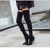 Aneikeh Latest 2017 Spring/Autumn Sexy Thigh High Boot Satin Stretch Elastic Over The Knee Sky Slim High Heels Long Booties Shoe