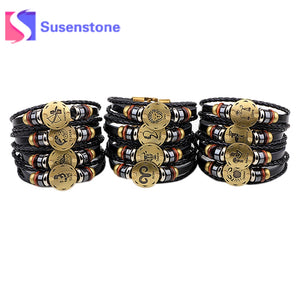 12 Constellations Bracelet 2017 Fashion Jewelry Leather Bracelet Men Casual Personality Zodiac Signs Punk Bracelet